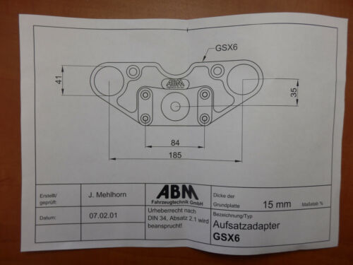GSX 600 F gn72b ABM Spiegler Superbike Fourche Pont Guidon Transformation gsx600f Top yoke