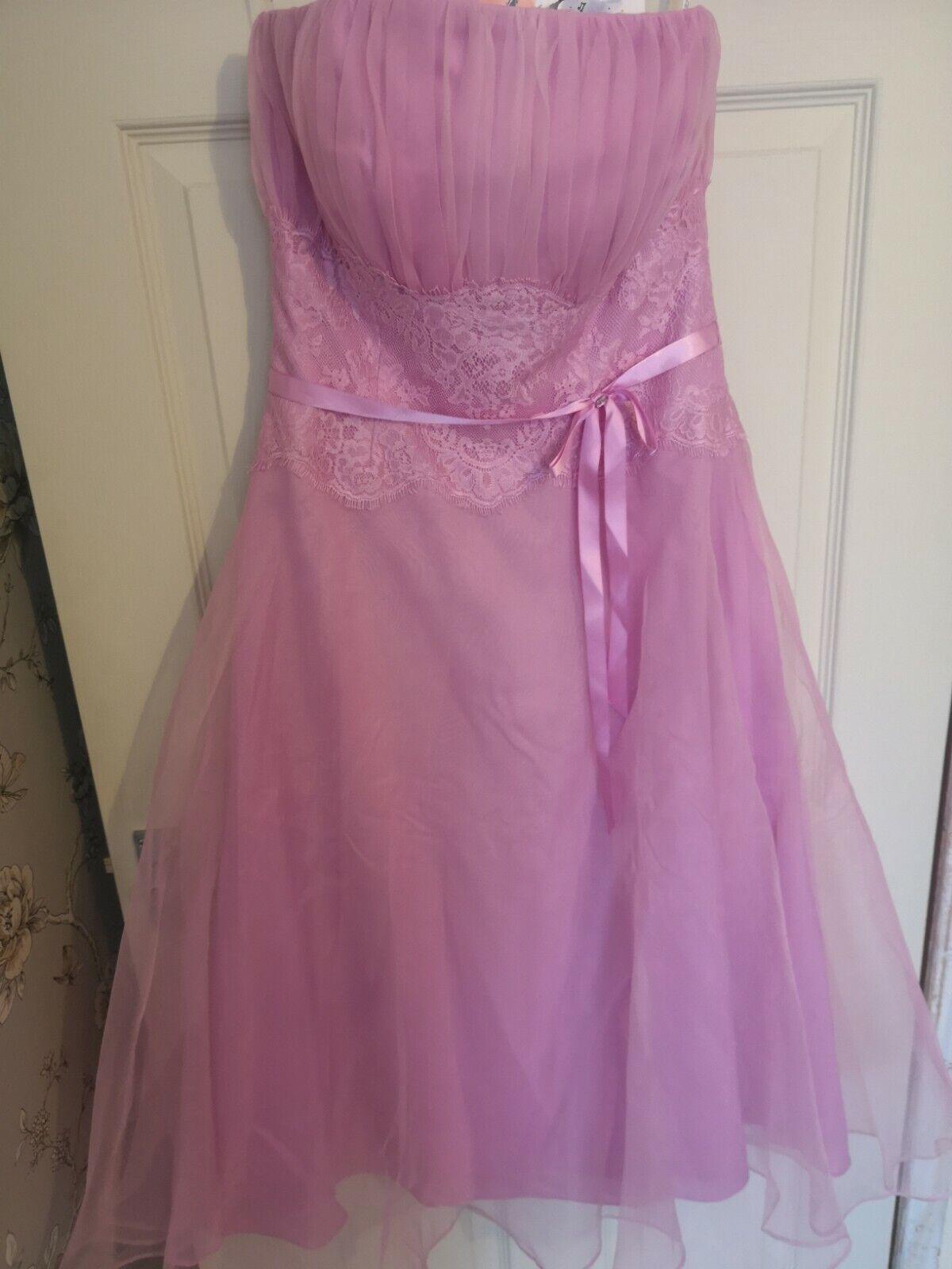 B2 Bridesmaid Dress Size 12 New Dusky Pink Tea Length Lace And Ribbon Detail