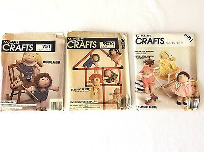Blossom Babies Sewing Patterns Doll Clothing 751 9074  P911 McCalls Crafts Lot 3