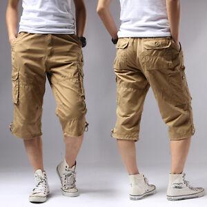 Mens Cargo Capri Shorts Pants Rope Casual 100% Cotton Big Size ...