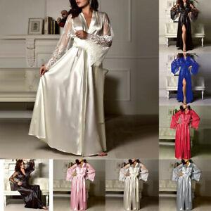 Women-Satin-Babydoll-Long-Nightdress-Silk-Lace-Lingerie-Nightgown-Sleepwear-Robe