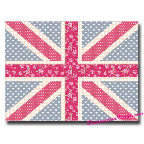 2 X Brillantes Pegatinas De Vinilo-Union Jack Bandera Rosa Rosas Y Corazones Girly Regalo # 0025