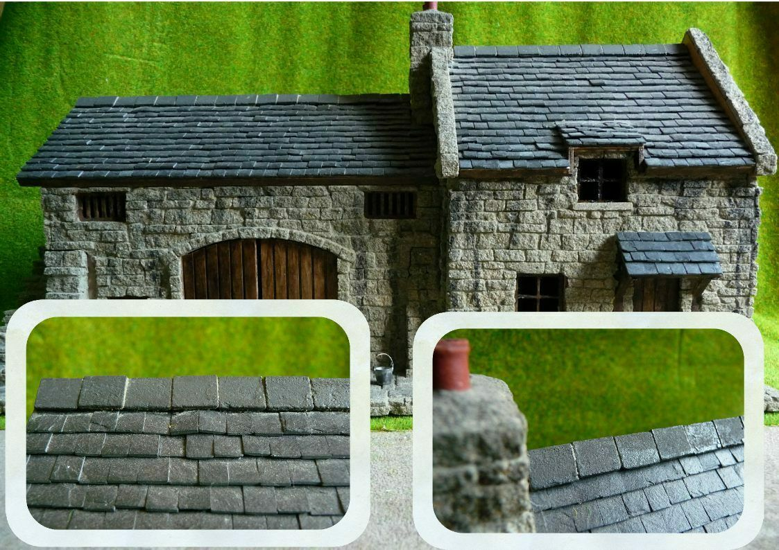 NEW  50 SIMULATED SLATE RIDGE TILES 1 48th SCALE   BRITISH O GAUGE