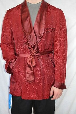 Mens Vintage Smoking Jacket Robe Shimmering Red Horstalls Hartford