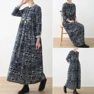 ZANZEA-UK-Women-Casual-Loose-Long-Sleeve-O-Neck-Floral-Printed-Kaftan-Maxi-Dress