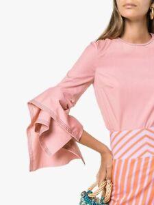 650-Roksanda-NEW-Tiered-Ruffled-Cuffs-Contrast-Topstitched-Top-12-Rana-Pink