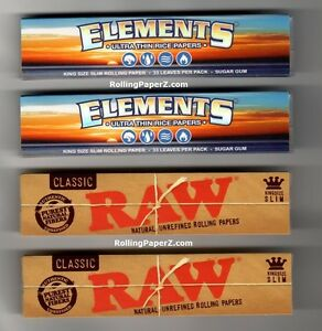 2-PACKS-KING-SIZE-SLIM-RAW-Classic-2-PKS-ELEMENTS-Ultra-Thin-Rolling-Papers
