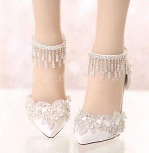 804c3709aca0 Details about Women s Wedding Lace High Heels Peep Toe Stiletto Ankle Strap  Party Bride Shoes