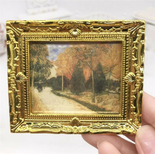 1:12 Dollhouse Miniature Furniture Room Oil Painting Autumn Gold Frame Decor