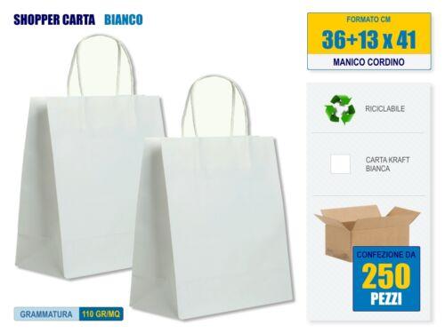 250 pezzi Shopper di carta Kraft Bianca con Manico Cordino cm 36x13x41