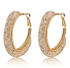 18k Gold Stardust Large Hoop Earrings made w  Swarovski Crystal Bling Stone 545e7d7f9