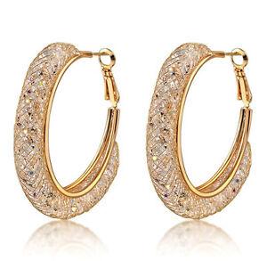 b9b64e95d 18k Gold Stardust Large Hoop Earrings made w/ Swarovski Crystal ...