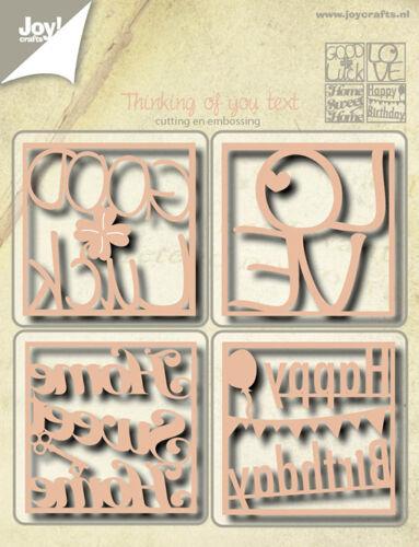 Joy Crafts Die Cutting /& Embossing cuadrados de texto amor Buena Suerte 6002//0523