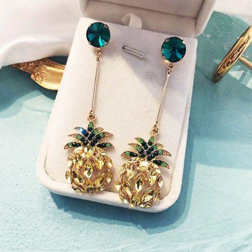 Pineapple Crystal Drop Dangle Earrings Fruit Temperament Stud Earrings Fashion
