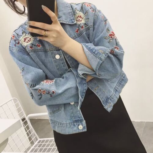 Women/'s Embroidered Loose Jacket Casual Oversize Denim Jeans Coat Outwear