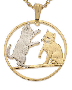 Cat-Balanese-Pendant-amp-Necklace-Isle-Of-Man-Cut-Coin-1-1-4-034-diameter-848