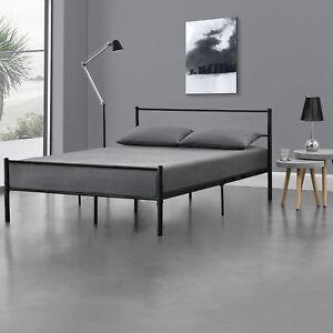 69a27e9140 Das Bild wird geladen Metallbett-140x200-Schwarz-Bettgestell-Design-Bett -Schlafzimmer-Metall