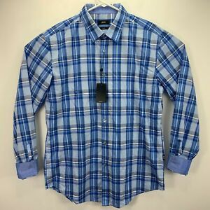 Hugo-Boss-Mens-Ronni-Plaid-Slim-Fit-Button-Down-Shirt-Blue-XL