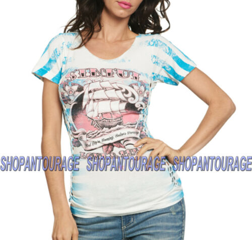 Sinful Final Voyage S3241 Women`s Short Sleeve White T-shirt By Affliction