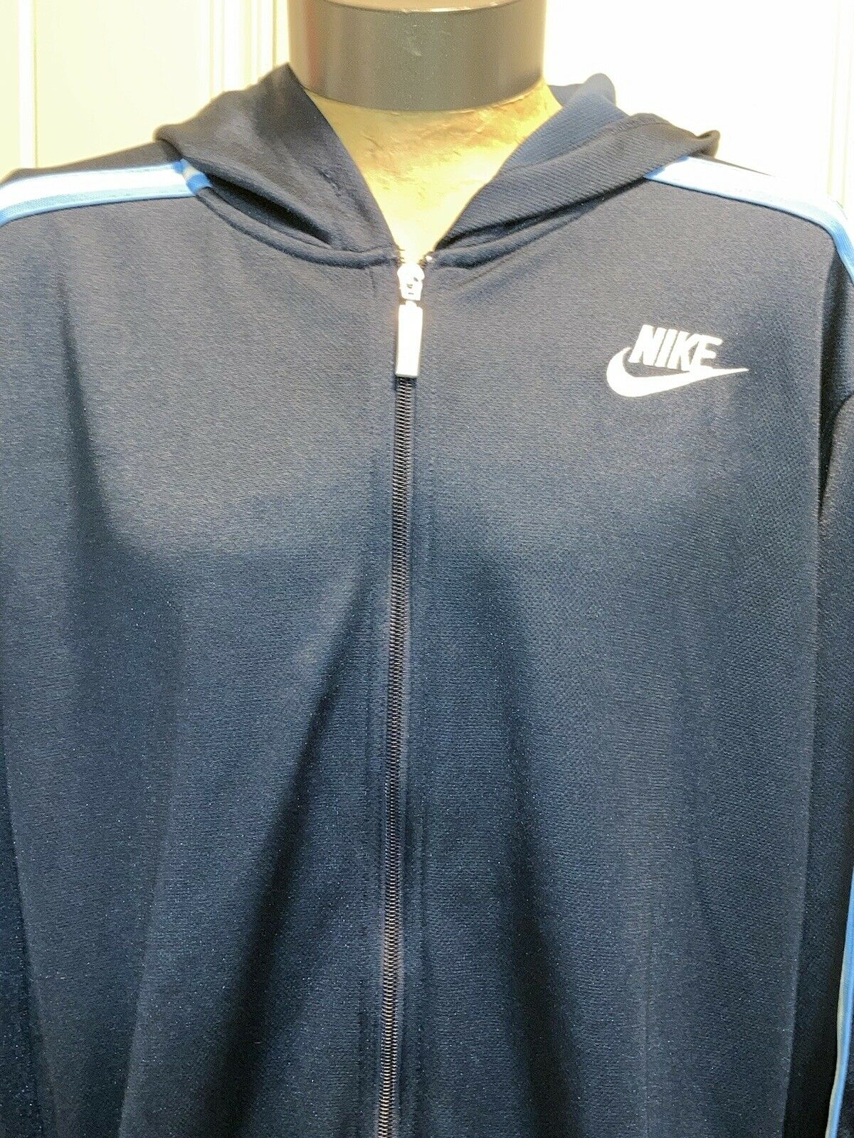 vintage 90s blue and white Nike swoosh hoodie XL … - image 8