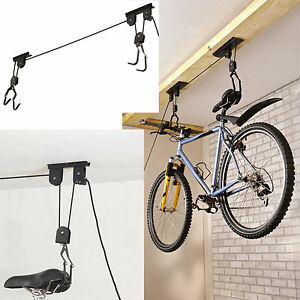 Image Is Loading 20KG Bike Bicycle Cycle Pulley Lift Space Saving