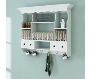 Details About White Kitchen Wall Storage Unit Hooks Drawers Shelves Plate Mounted Rack Cabinet