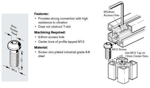 80//20 Inc EQUIVALENT M12 x 30 Socket Head Connector for 45 Ser #13003-5 pcs.