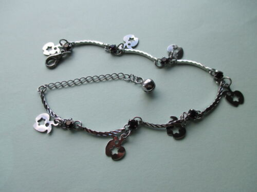 Ankle Bracelets UK Jewellery 90 Pieces Chain Silver Tone Charm Anklets