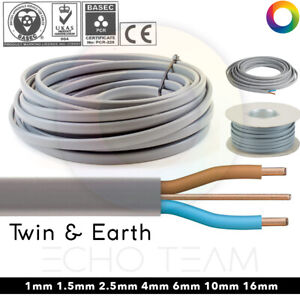 Twin and Earth 6242Y Electric Cable Wire Lights Electrical Socket Cooker Shower