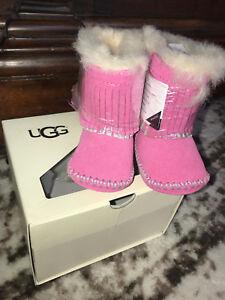 0239b5bc353 Details about NIB UGG AUSTRALIA Branyon fringe pink infant girls shoes  boots-RARE-0/1 XS 0-6m
