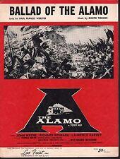 Ballad of the Alamo 1960 John Wayne Sheet Music