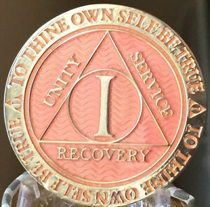 Pink /& Silver Plated 14 Year AA Chip Alcoholics Anonymous Medallion Coin