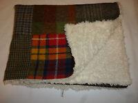 Patchwork Harris Tweed & Faux Sheepskin/fur Baby Blanket/buggy/crib Handmade