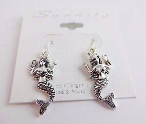 Silver Mermaid Earrings Sterling Silver Mermaid Earrings Mermaid Earrings