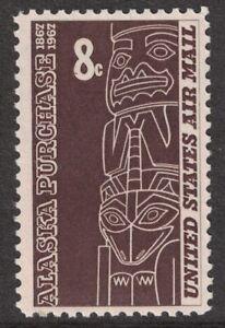 Scott-C70-Alaska-Compra-Tlingit-Totem-MNH-8c-1967-sin-Usar-Aereo-Sello
