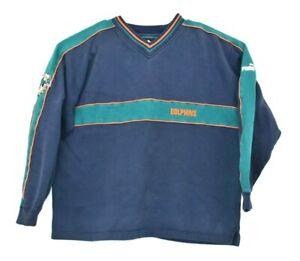 Vintage-Puma-Men-039-s-X-Large-V-Neck-Miami-Dolphins-Long-Sleeve-Sweater