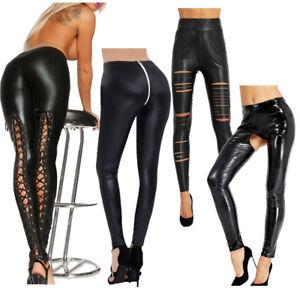 953c41366dd976 Women's Ladies Wet Look Leggings Lace Up Black Leather Skinny Fit ...