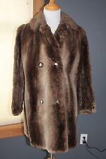 Double breasted sheared BEAVER FUR COAT 3/4 length circa 1960's