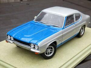 Raro-Minichamps-1-18-Ford-Capri-Mk1-RS-V6-2600-1970-de-Plata-y-Azul-Coche-Modelo-de-juguete