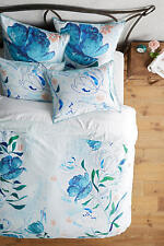 ANTHROPOLOGIE Bedding Blue Floral Alaire QUEEN Duvet Cover Set 2 Standard Shams