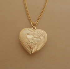 """LOVE Heart Shaped Locket, Pendant & 18"""" Chain, Gold Plated"""