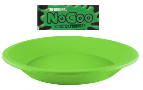 "GREEN NoGoo Round Plate Deep Dish Pan 8"" NonStick Silicone Container"