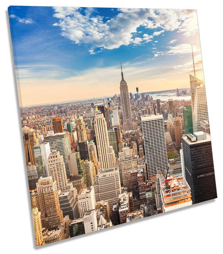 NEW York City Skyline Quadrato Moderno casella incorniciato tela arte immagine