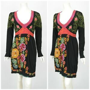 Womens-Desigual-Black-Multicolored-Floral-Dress-V-Neck-Long-Sleeve-Tunic-Size-L