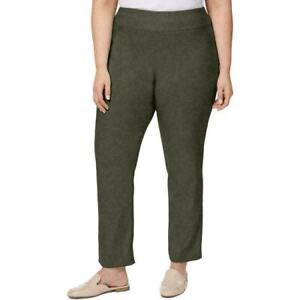Charter Club Women Green Pull On Tummy Slimming Leg Pants Stretch Plus Size 24W