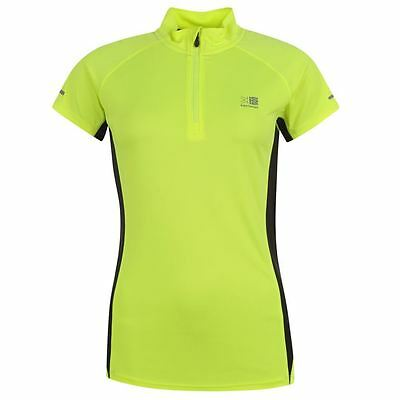 Karrimor Zip Collar Short Sleeve Ladies Fluro Running Top Sizes 8-18 Free Post