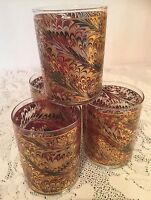 Set of 4 Vtg CULVER Double On The Rocks Glasses Silk Screened Gold Burgundy 1987