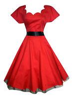 Womens 1940's Retro Style Red Scallop Neckline Cocktail Tea Dress New 8 - 18