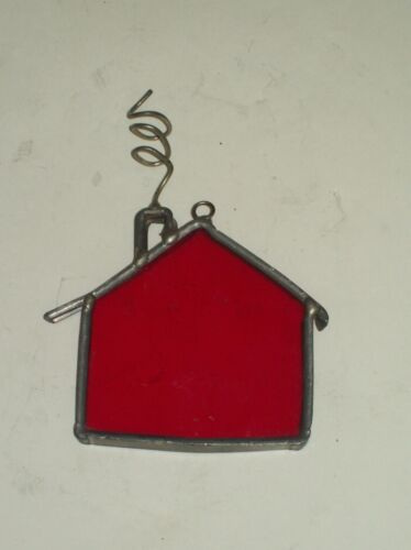 """Vintage"" Leaded Stained Glass Little Red House Art Glass Sun Catcher"