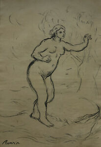 Fine-Charcoal-drawing-Bather-signed-Pierre-Auguste-Renoir-w-CO-A-amp-DOCS